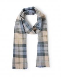 Ivory, Powder Blue & Grey Merino Wool Tartan Scarf