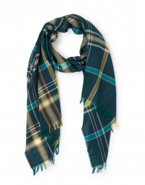 Green Multi Extra Fine Merino Wool Check Scarf