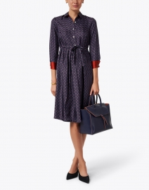Navy Print Silk Shirt Dress