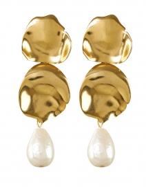 Gold and Pearl Drop Petal Clip Earrings