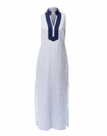 Blue and White Striped Linen Tunic Dress