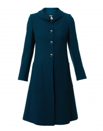 Parisian Teal Wool Crepe Coat
