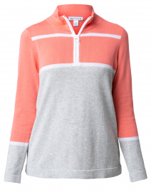 Living Coral and Grey Cotton Zip Up Sweater