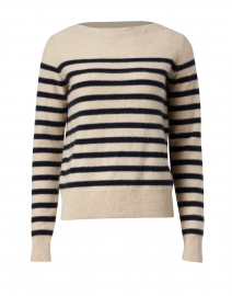 Camel and Navy Striped Boiled Cashmere Sweater