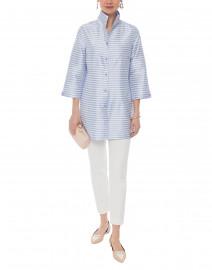 Connie Roberson - Rita Lavender and White Gingham Silk Top