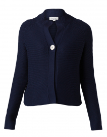 Navy Garter Stitch Cotton Cardigan