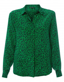 Timea Green and Navy Leopard Silk Crepe Blouse