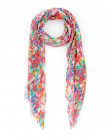 Multicolored Floral Printed Silk Cashmere Scarf