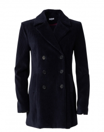 Navy Corduroy Double Breasted Peacoat