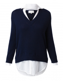 Midnight Navy Sweater with White Underlayer