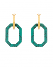 Gold and Turquoise Octagon Link Earring