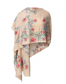 Multicolored Floral Embroidered Wool Scarf