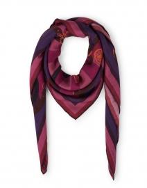 Firenze Magenta Saddle Printed Wool Cashmere Silk Scarf