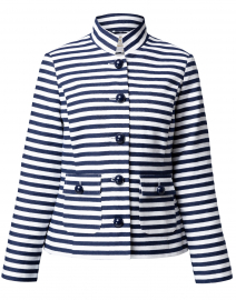 Navy and White Stripe Jacquard Button Jacket