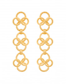 Satin Gold Circular Link Drop Earrings