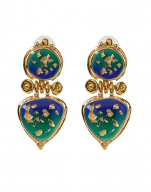 Colorado Green and Gold Drop Clip Earring