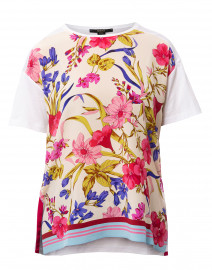 Pink and Blue Floral Printed Silk Top