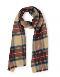 Red, Blue and Beige Tartan Extra Fine Wool Scarf