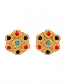 Gold Multi Colored Cabochon Clip-On Earring