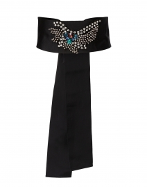 Black Embellished Wide Satin Ribbed Belt