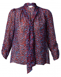Layne Red and Blue Heart Silk Top