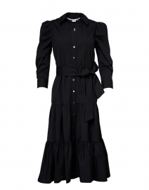 Zeila Black Stretch Cotton Tiered Shirt Dress