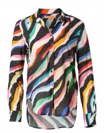 Gaby Multicolored Metallic Zebra Print Top