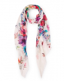 Multicolored Ivory Floral Printed Silk Cashmere Scarf