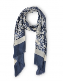 Navy Leopard Print Silk and Cashmere Scarf