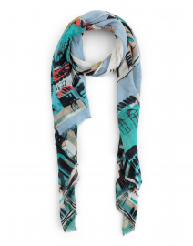 Blue Cinque Terra Silk and Cashmere Scarf