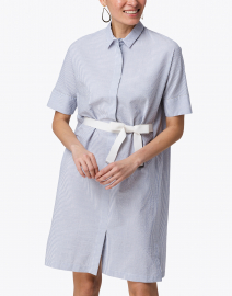 Fabiana Filippi - Blue and White Seersucker Shirt Dress
