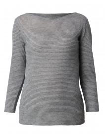 Grey and White Micro Striped Cotton Cashmere Top
