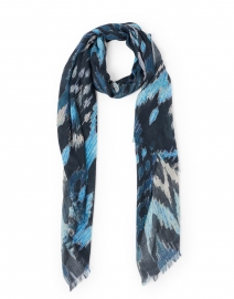 Blue and Navy Ikat Silk Cashmere Scarf