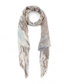 Beige and Pale Blue Wave Silk and Cashmere Scarf