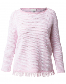 Pink and White Lattice Cotton Sweater