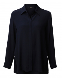 Navy Silk Crepe Shirt