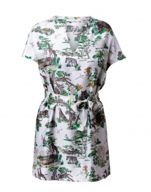 White and Green Safari Print Silk Tunic