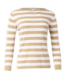 Oatmeal and White Stripe Pima Cotton Boatneck Sweater