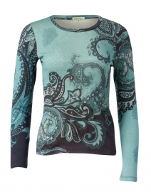 Light Blue and Navy Paisley Silk Cashmere Sweater