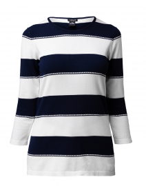 Navy and White Striped Sweater with Buttoned Sleeves