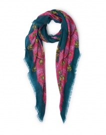 Euclide Teal and Pink Paisley Cashmere Scarf