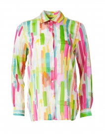 Dover White and Multi Line Print Silk Shirt