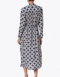 Seventy - Navy and White Geometric Printed Crepe Shirt Dress