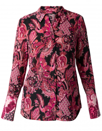 Lindy Pink Paisley Crepe Button Down Blouse