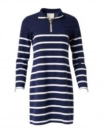 Navy Blue and White Stripe Stretch Ponte Dress