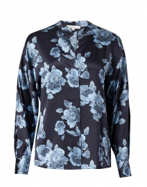 Blue Tapestry Floral Silk Blouse
