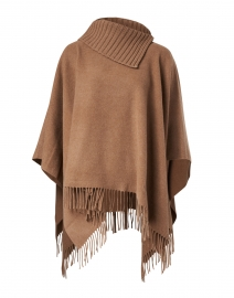 Camel Fringe Ribbed Turtleneck Poncho
