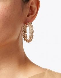 FALLON - Pave Gold Bloom Floral Hoop Earrings
