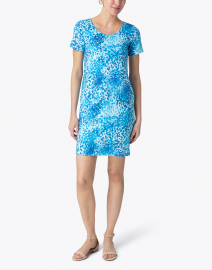 Leggiadro - Turquoise Florettes Stretch Knit Dress