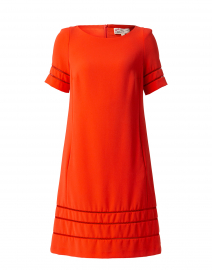 Orange Shift Dress with Fagoting Detail